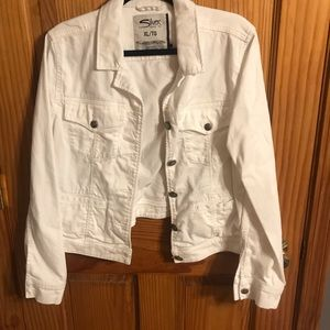 XL White Silver Jean Jacket